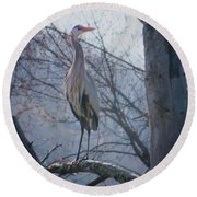 Heron Looking Out Round Beach Towel