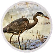 Heron On A Cloudy Day Round Beach Towel