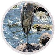 Heron On One Leg Round Beach Towel