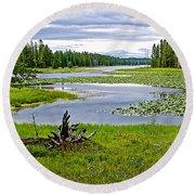 Heron Pond In Grand Teton National Park-wyoming   Round Beach Towel