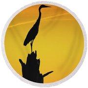 Heron Silhouette Round Beach Towel