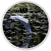 Heron Take Off Round Beach Towel