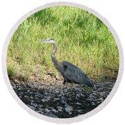 Heron Travels  Round Beach Towel