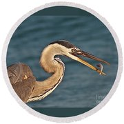 Heron With Catch Round Beach Towel