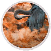 Heron Wonderland V3 Round Beach Towel