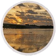 Herons And Egrets And Porpoise Oh My Round Beach Towel
