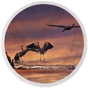 Herons At Sunset Round Beach Towel