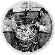 Herring Fishing Howth 1955  Round Beach Towel