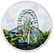 Hershey Park Ferris Wheel Round Beach Towel