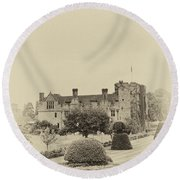Hever Castle Yellow Plate 2 Round Beach Towel