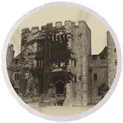 Hever Castle Yellow Plate Round Beach Towel by Chris Thaxter