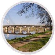 Hexham Bridge And Riverside Path Round Beach Towel