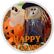 Feel Good Happy Halloween Round Beach Towel
