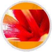 Hibiscus Abstract In Red And Yellow Round Beach Towel