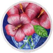 Hibiscus In Glass Vase Round Beach Towel
