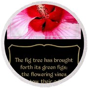 Hibiscus Closeup With Bible Quote From Song Of Songs Round Beach Towel