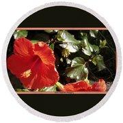 Hibiscus Red Round Beach Towel