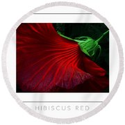 Hibiscus Red Poster Round Beach Towel