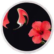 Hibiscus Seed Dream Digital Art Round Beach Towel