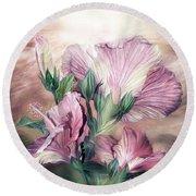 Hibiscus Sky - Pastel Pink Tones Round Beach Towel