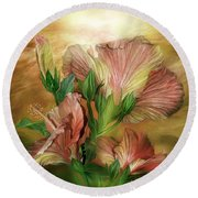 Hibiscus Sky - Peach And Yellow Tones Round Beach Towel