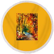 Hidden Emotions - Palette Knife Oil Painting On Canvas By Leonid Afremov Round Beach Towel