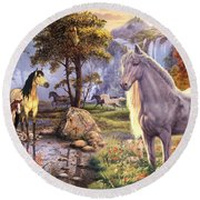 Hidden Images - Horses Round Beach Towel by Steve Read