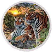 Hidden Images - Tigers Round Beach Towel by Steve Read