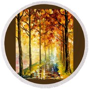 Hidden Path - Palette Knife Oil Painting On Canvas By Leonid Afremov Round Beach Towel