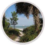 Hidden Path To The Beach Round Beach Towel