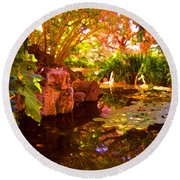 Hidden Pond Round Beach Towel