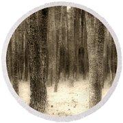 Hiding In The Trees By Diana Sainz Round Beach Towel