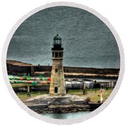 High Above The Lighthouse  Round Beach Towel