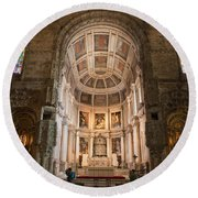 High Altar In Church Of Jeronimos Monastery Round Beach Towel