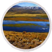 High Altitude Reflections Round Beach Towel