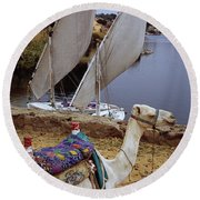 High Angle View Of A Camel Resting Round Beach Towel