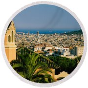 High Angle View Of A City, Barcelona Round Beach Towel