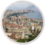 High Angle View Of A City, Naples Round Beach Towel