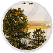 High Angle View Of A River, Ausable Round Beach Towel
