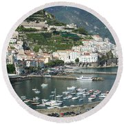 High Angle View Of A Town, Amalfi Round Beach Towel