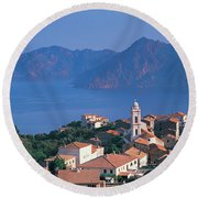 High Angle View Of A Town At The Coast Round Beach Towel