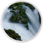 High Angle View Of A Waterfall, Sol Duc Round Beach Towel