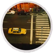 High Angle View Of Cars At A Zebra Round Beach Towel