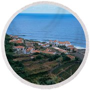 High Angle View Of Houses At A Coast Round Beach Towel