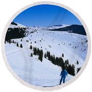 High Angle View Of Skiers Skiing, Vail Round Beach Towel