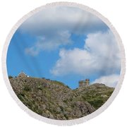 High As The Sky - Blue Sky - Cliffs Round Beach Towel