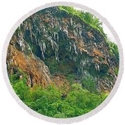 High Cliffs Along River Kwai In Kanchanaburi-thailand Round Beach Towel