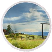 High Country Farm Round Beach Towel by Theresa Tahara