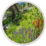 High Country Wildflowers Round Beach Towel