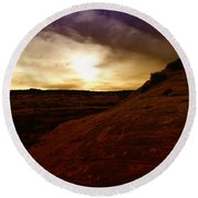 High Desert Clouds Round Beach Towel